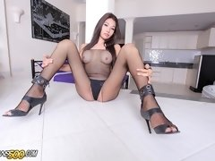 Sexy and gorgeous Asian ladyboy Nam gets her post-op snatch fucked!