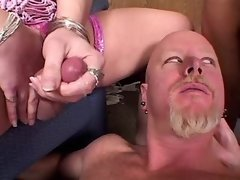Three TSes fuck with guy in sexorgy