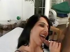 Sexy big-nosed shemale sucking cock