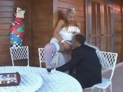 Sex-hungry shemale wife treating her husband with her mighty cock outdoors