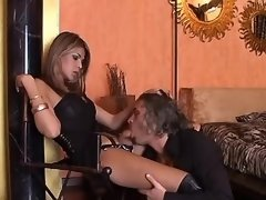 Man serves mistress tranny in boots