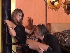 Man serves mistress tranny in boots