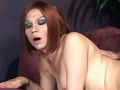 Guy hard fucks lewd redhead shemale
