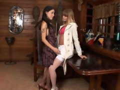 Lusty tranny revealing her wild desire while scoring gal right on the floor