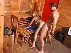 Man hard fucks hot shemale in sauna