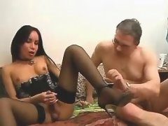 Cute asian tranny fucking with dude